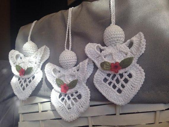 Crochet Angel Set of 3 Angels, Christmas Angel, Christmas ...