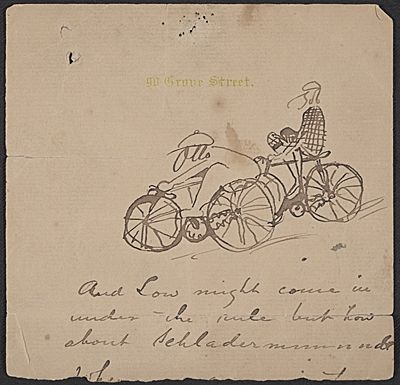 Citation Sketch Of Two Cyclists Between 1873 And 1903 Otto