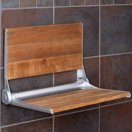 Clevr 18 inch Serena Folding Shower Bench Seat Modern Teak Wood Bath ...