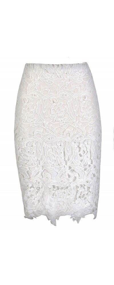 Style and Lace Pencil Skirt in White  www.lilyboutique.com