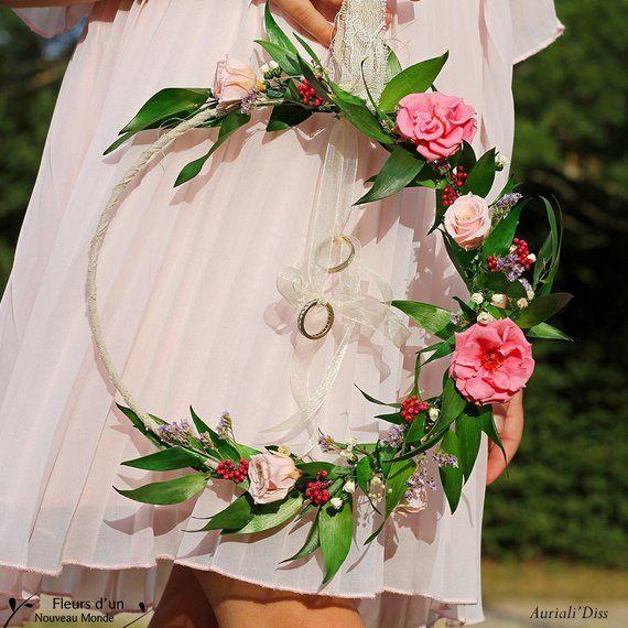 """Porte alliances """"Rêve de fleurs"""", porte bagues attrape rêves, fleurs stabilisées, coussin dalliances mariage bohème, dreamcatcher mariage"""