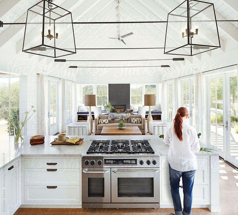 Cottage Kitchen Permit Utah: Woman Cooking In Modern Design Farmhouse Kitchen In Sonoma