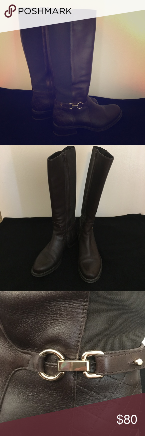 Dark brown leather boots Authentic leader boots, used only once. I bought them for Christmas Day and only wore them that day. They are comfortable but it is never cold enough to wear them. Shoes Combat & Moto Boots