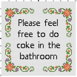 Please Feel Free To Do Coke In The Bathroom Cross Stitch Etsy Funny Cross Stitch Patterns Cross Stitch Patterns Cross Stitch Funny