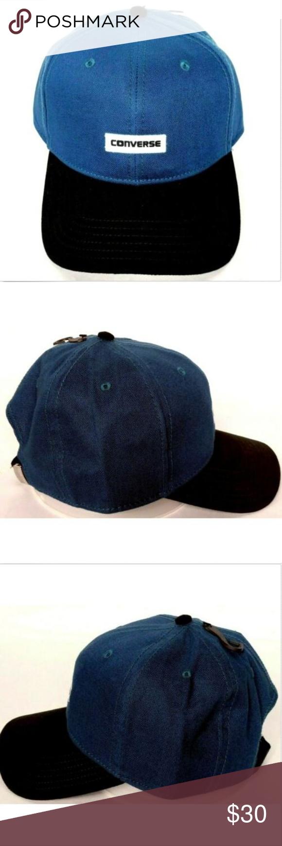 182d3a451d267 Converse Men s Black Blue Logo Cap Strapback Hat Converse Men s Black Blue  Logo Baseball Cap Strapback