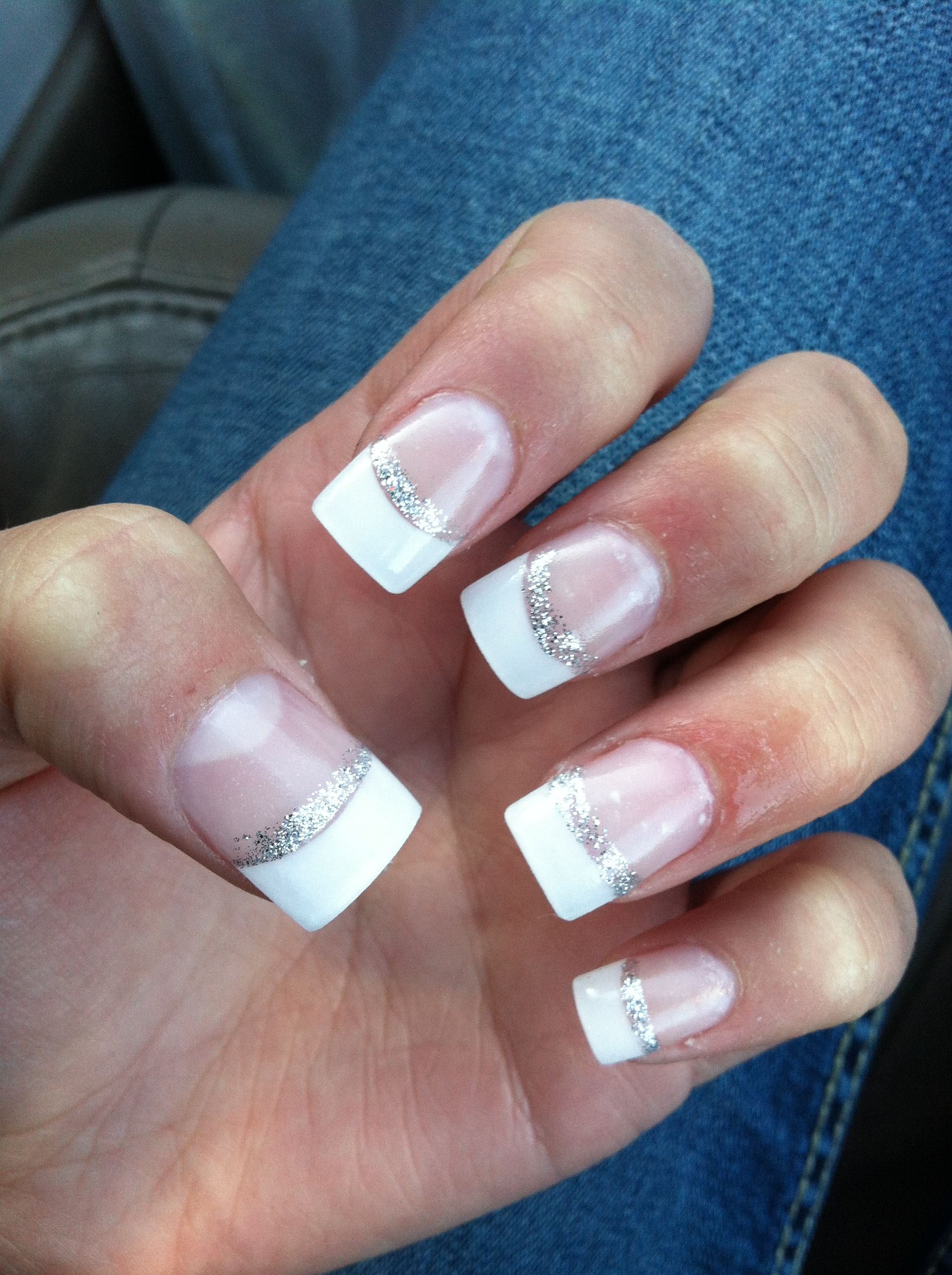 My Prom nails.. French tips with glitter :D - Nails | Pinterest