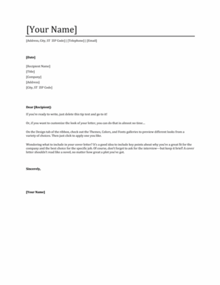 Microsoft Word Professional Letter Template Classy Grab Microsoft's Best Free Cover Letter Templates  Professional .