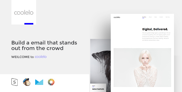 Coolelo Responsive Email Template Minimal Portfolio By Zay01 Features Drag Drop In Stampready Unlimited Colors
