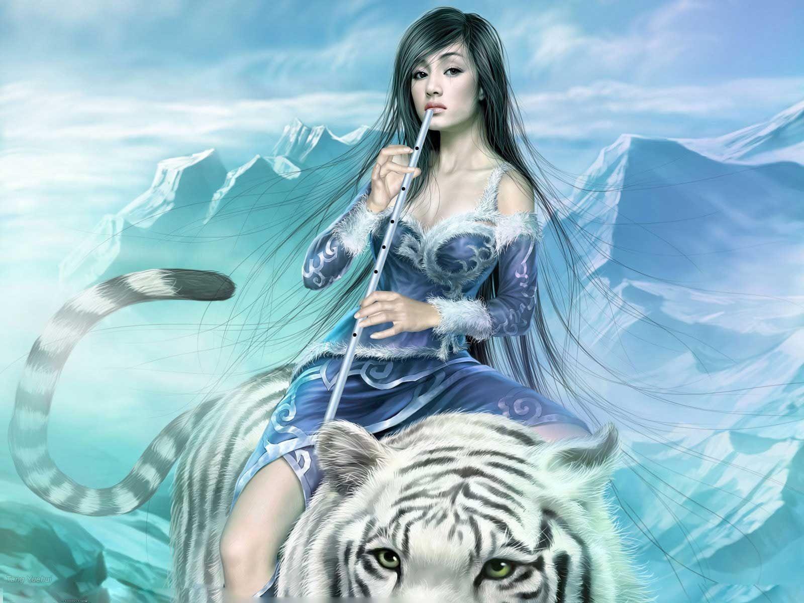 ball art girl fantasy tiger sphere HD wallpaper