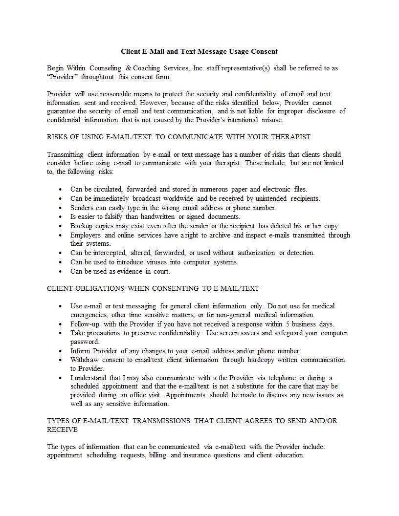EmailTextConsentFormDoc  Private Practice