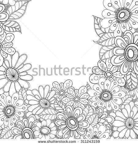 Zentangle doodle floral invitation card. Template wave frame design for card. Decorative hand-drawn vector element border.