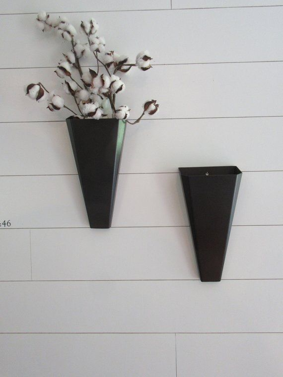 Pair Of Metal Wall Planter Wall Pockets Black Handmade Metal Wall