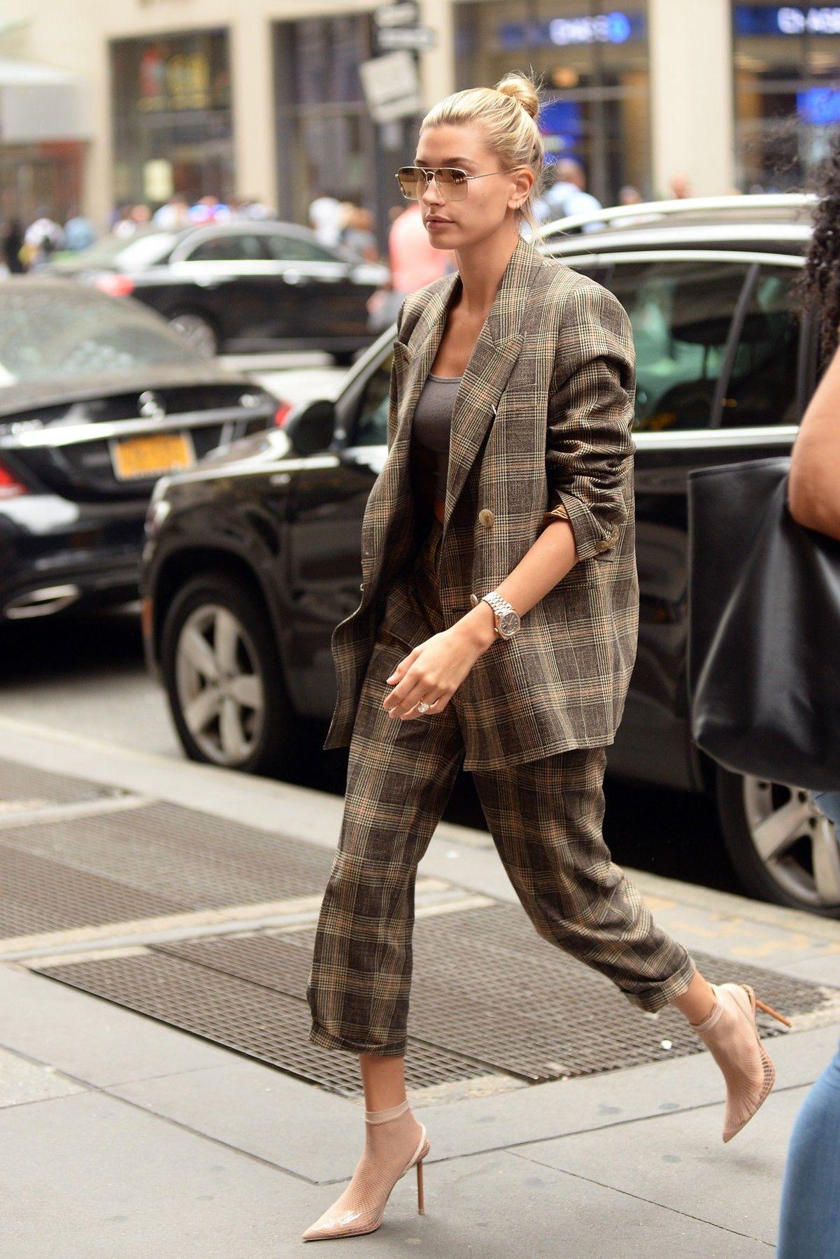 ada47c1bdcf5 Hailey Baldwin wears Acne Studios Checked Trousers