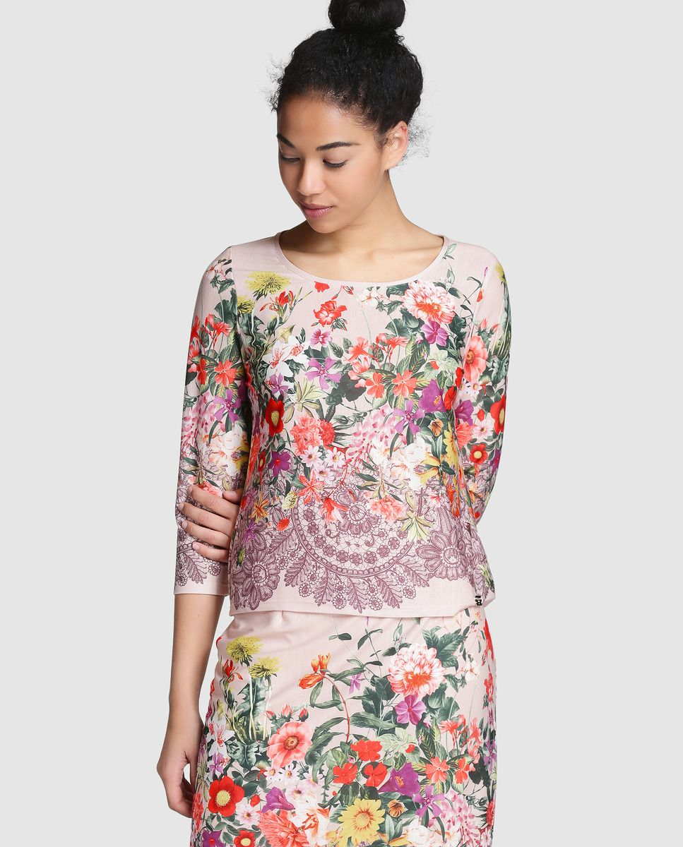 Camiseta de mujer Naulover con manga francesa y estampado floral ...