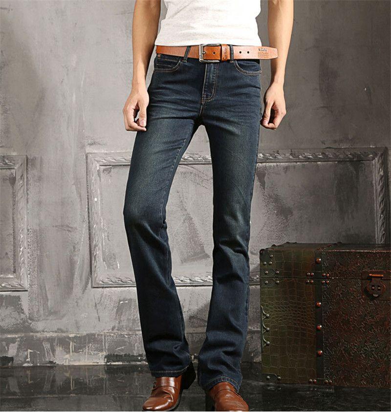 Spring Fashion Mens New bell-bottom trousers blue denim pants ...