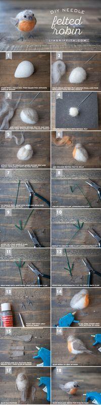 Needle Felted European Robin - Lia Griffith #needlefelting