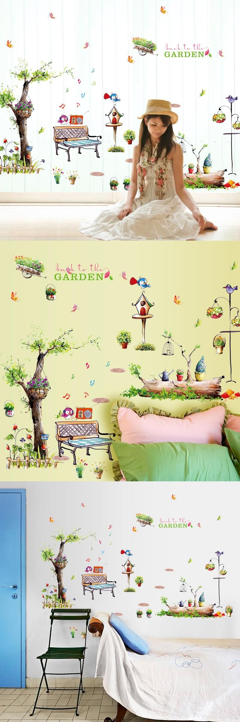 Visit to Buy] Flowers Cartoon Owl Tree Wall stickers for kids rooms ...
