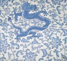 SCALAMANDRE CHINOISERIE CHI'EN DRAGON LINEN PRINT FABRIC 10 YARDS HYACINTH BLUE