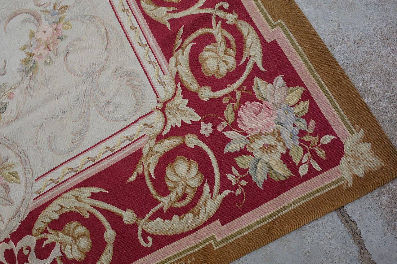 8X10 Vintage France Living Room Decor Red Beige Floral Garland Aubusson Carpet
