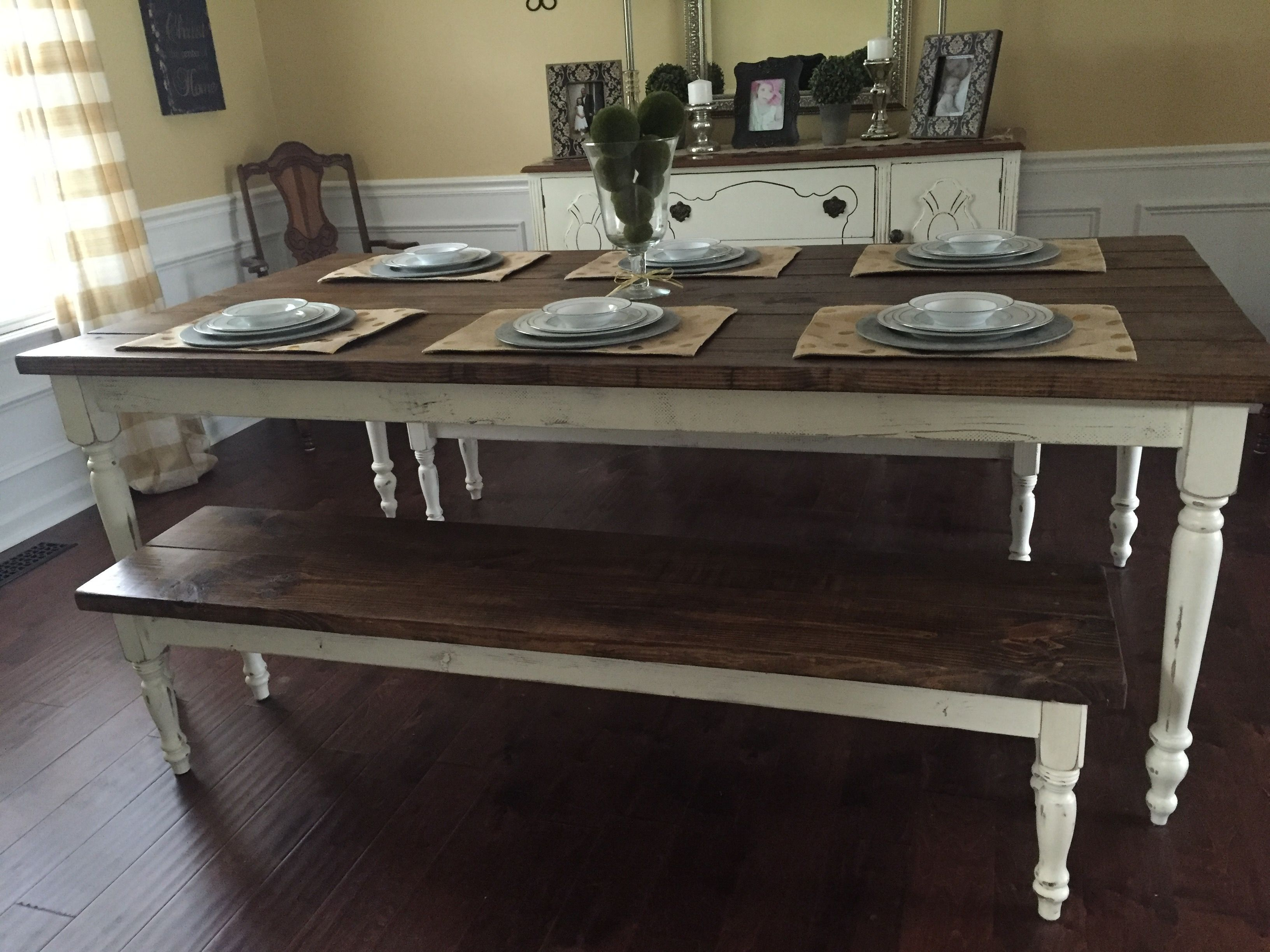 Custom Farmhouse Table Built By Southern Swag Kirklands Galvanized Metal  Chargers, Burlap Placemats, Noritake