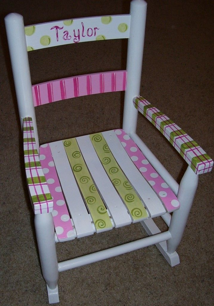 Childrens Rocking Chair. Hand Painted. $139.00, Via Etsy.