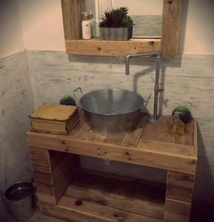 Mueble De Bano Industrial Estilo Rustico Mobiliario Fabricado A