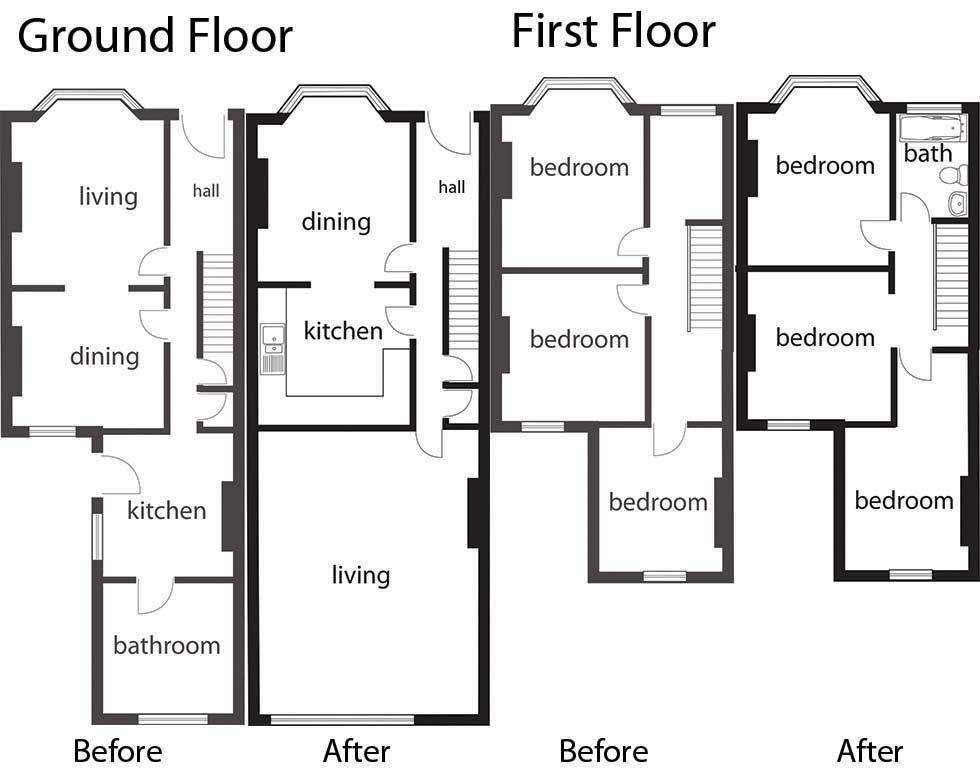 Floorplans for adding an upstairs bathroom extension for Upstairs house plans