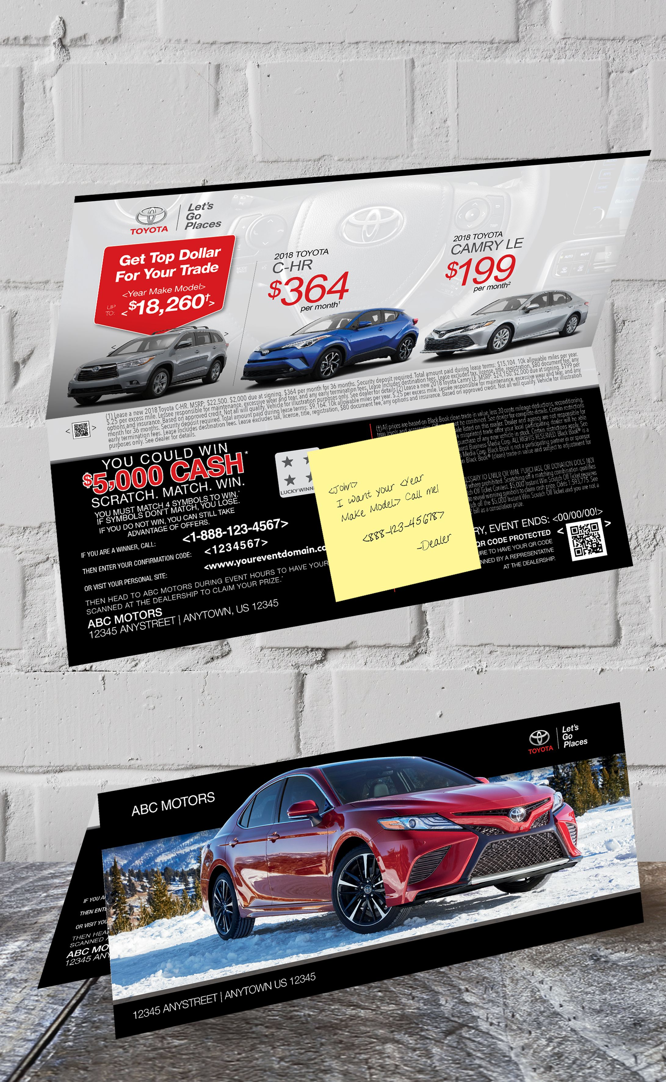 10 75x4 5 Toyota foldover with a sticky note Includes