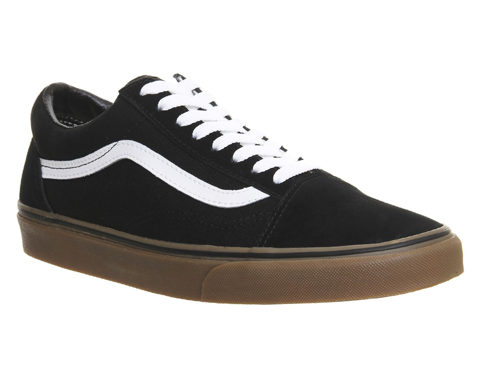 e989de8c86 Mens Vans Old Skool BLACK GUM SOLE Trainers Shoes