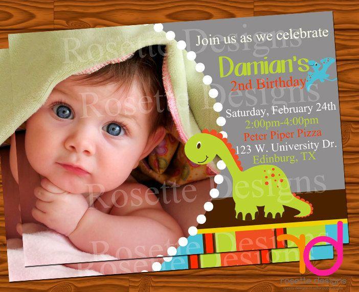 DINOSAUR birthday party invitation - digital printable with photo - personalized customized. $5.50, via Etsy.