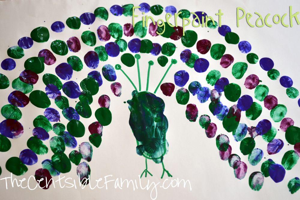 Cute Fingerpaint Peacock Craft Project