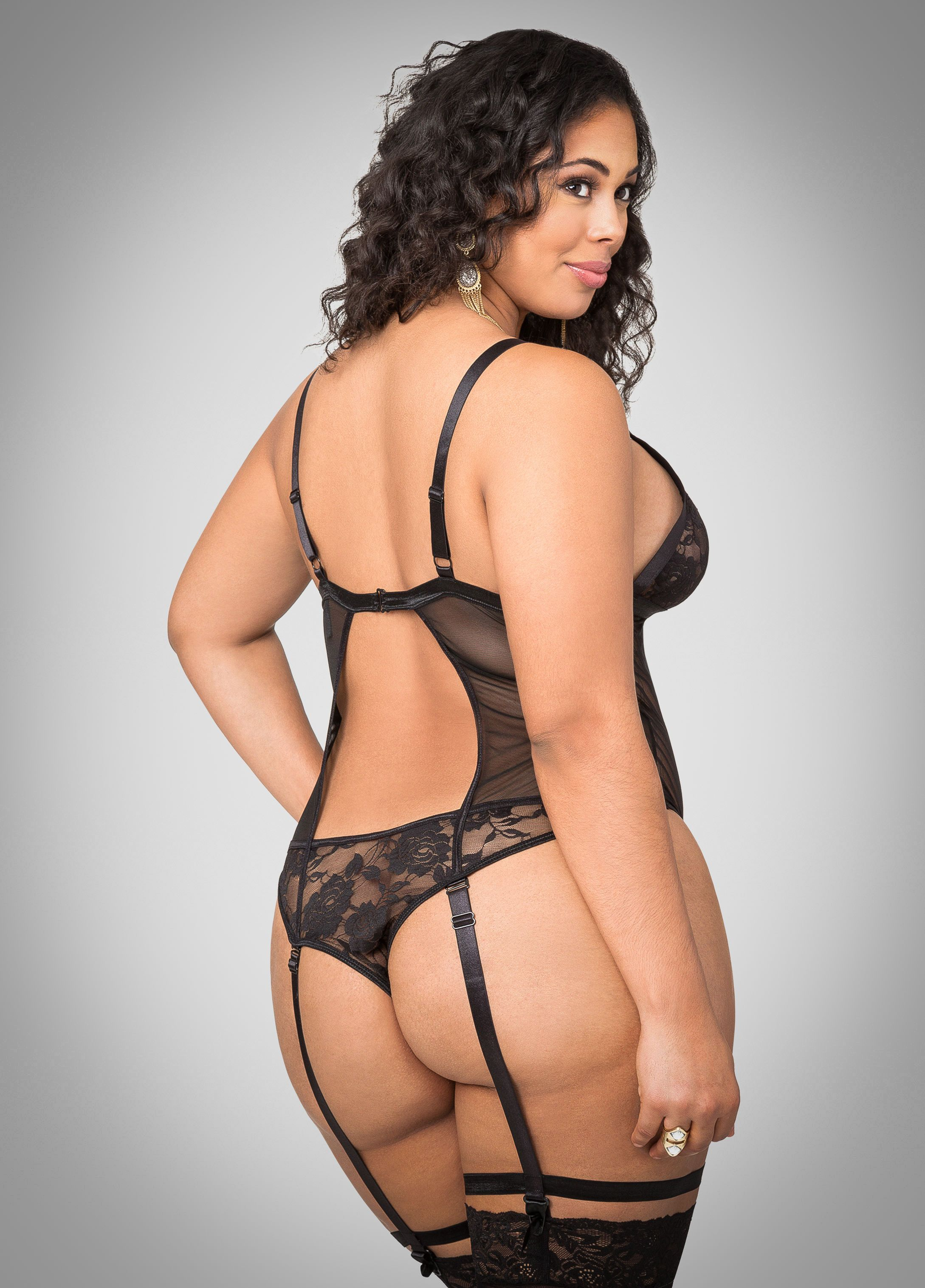 Sexy Black Nude Plus Size Bodysuit