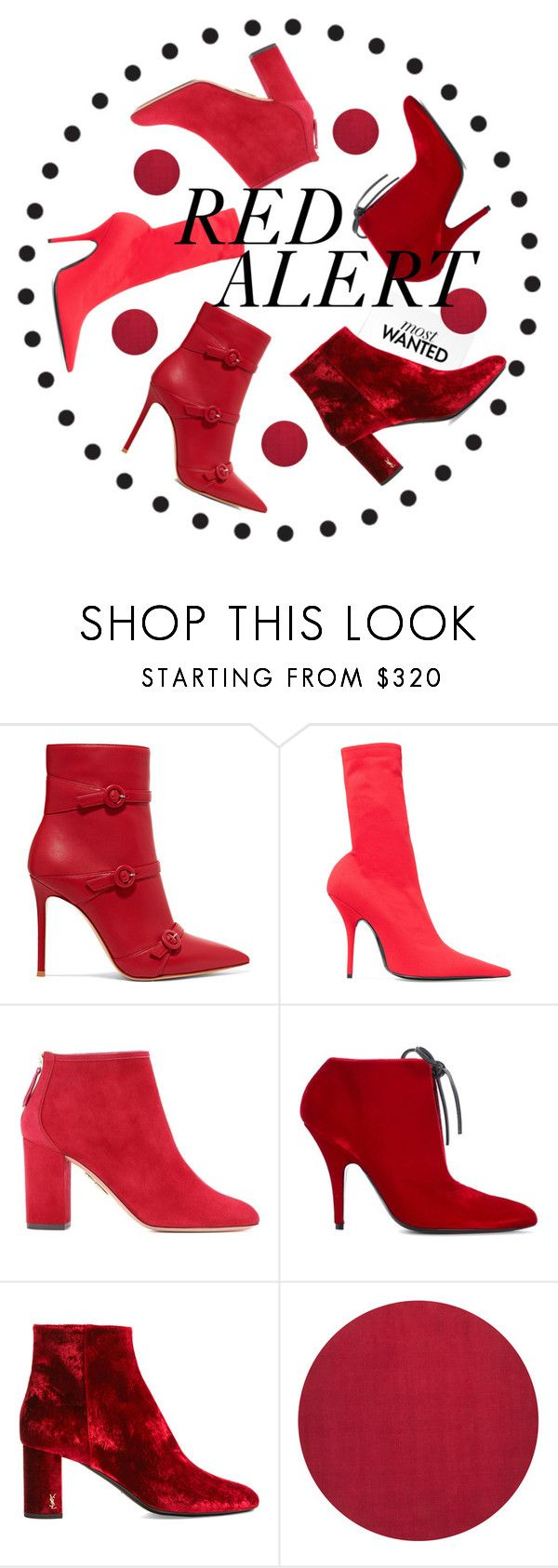 """Red Alert"" by sandrascloset ❤ liked on Polyvore featuring Gianvito Rossi, Balenciaga, Aquazzura, Tom Ford and Yves Saint Laurent"