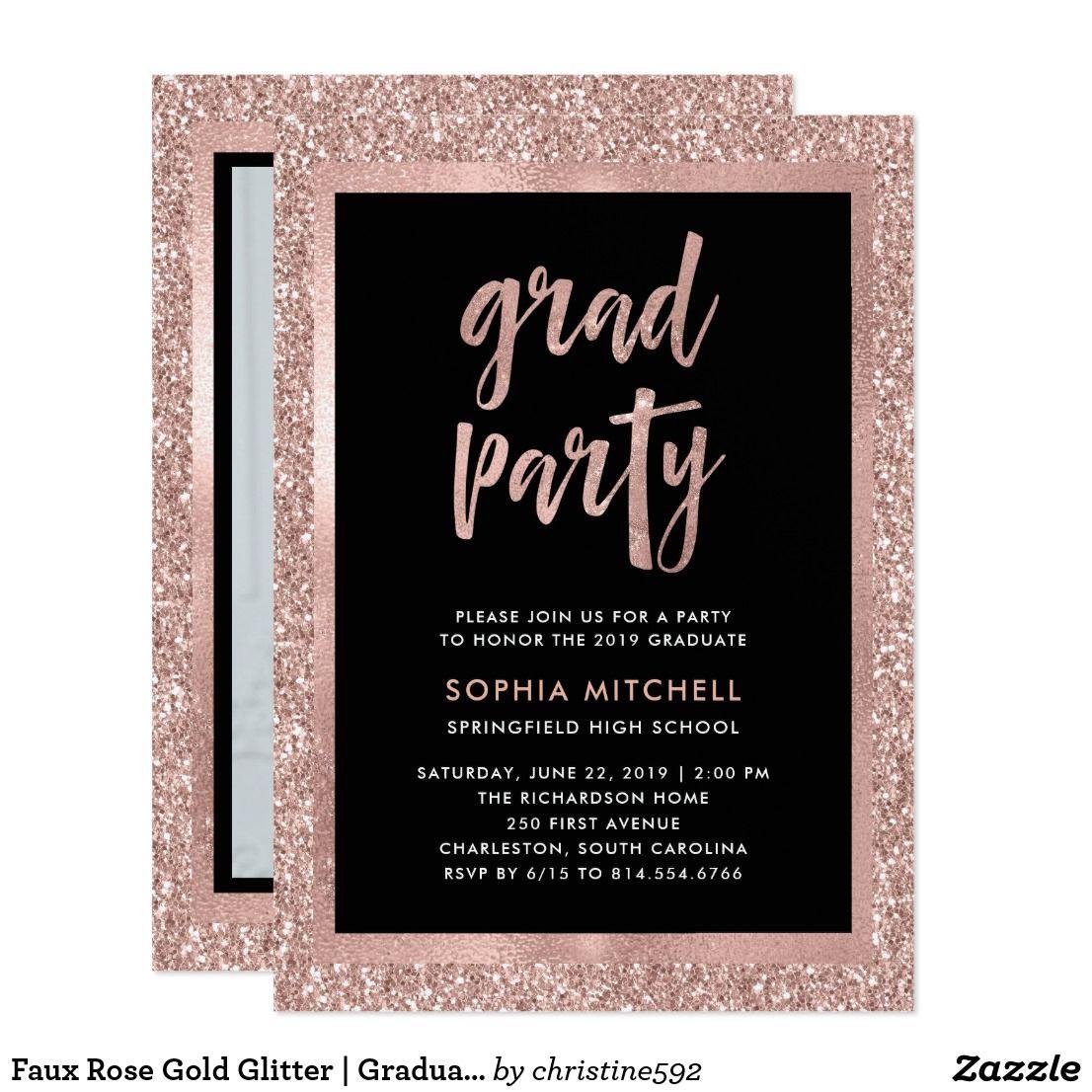 Faux Rose Gold Glitter Graduation Party Photo Invitation