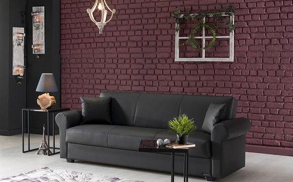 Outstanding Istikbal Floris Gray Storage Dark Leatherette Sofa Living Inzonedesignstudio Interior Chair Design Inzonedesignstudiocom