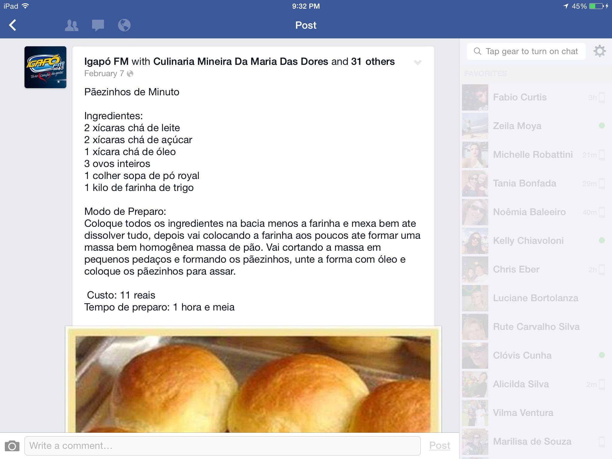 Receita de pão de minuto