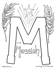 M Is For Messiah Bible Alphabet Coloring Page Christian Coloring Bible Coloring Pages Sunday School Lessons Jesus