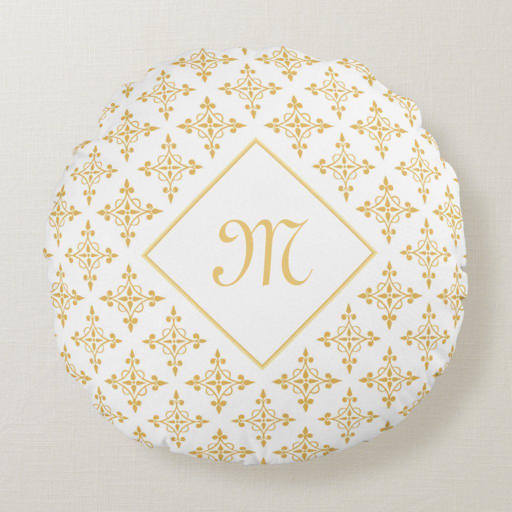 Luxury Monogram White and Gold Quatre Floral Round Pillow