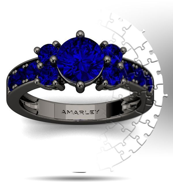 Amarley Black Range - Amazing Black Sterling Silver 1.25 CT. Round Cut Sapphire Spinel Promise Ring