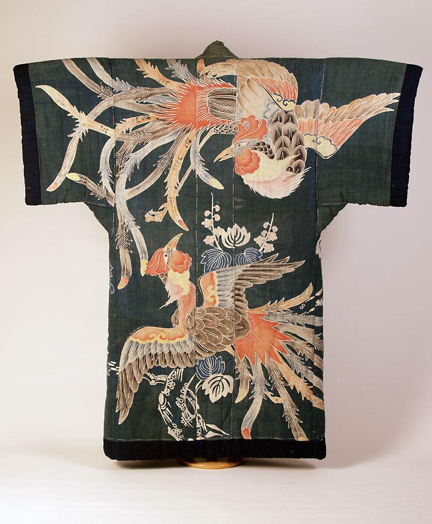 Garment Of The Day Padded Kimono Shaped Futon Cover Yogi Decorated With Paste Resist Dyeing Tsutsugaki Japanese Late 19th Century Ksum 1983 1 883