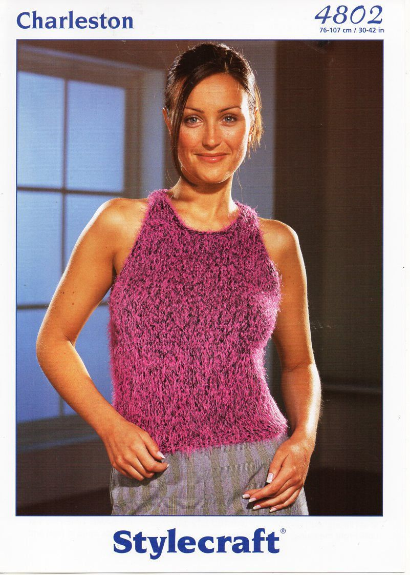 original womens knitting pattern womens mohair top ladies sleeveless ...