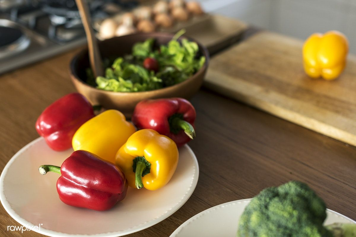 Vegetables on the kitchen table free image by
