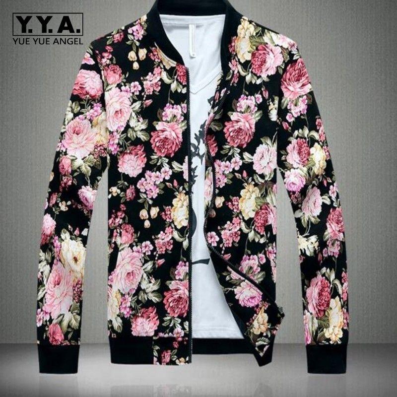 Mens Print Long Sleeve Stand Collar Floral Waist Length Jacket Coats Zip Outdoor