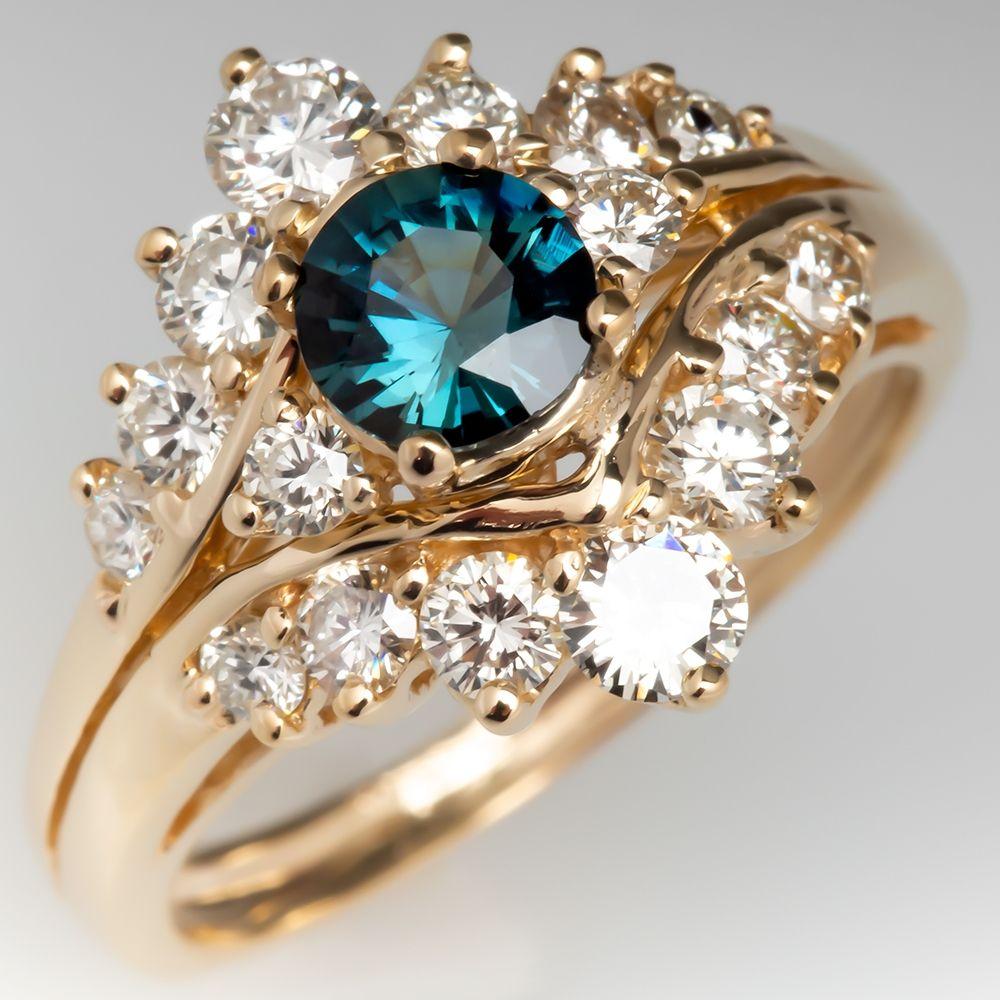 Teal Sapphire & Diamond 14K Yellow Gold Ring Sapphire