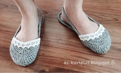AS-kartelut: Virkatut tossut #crochet #slippers #flipflops