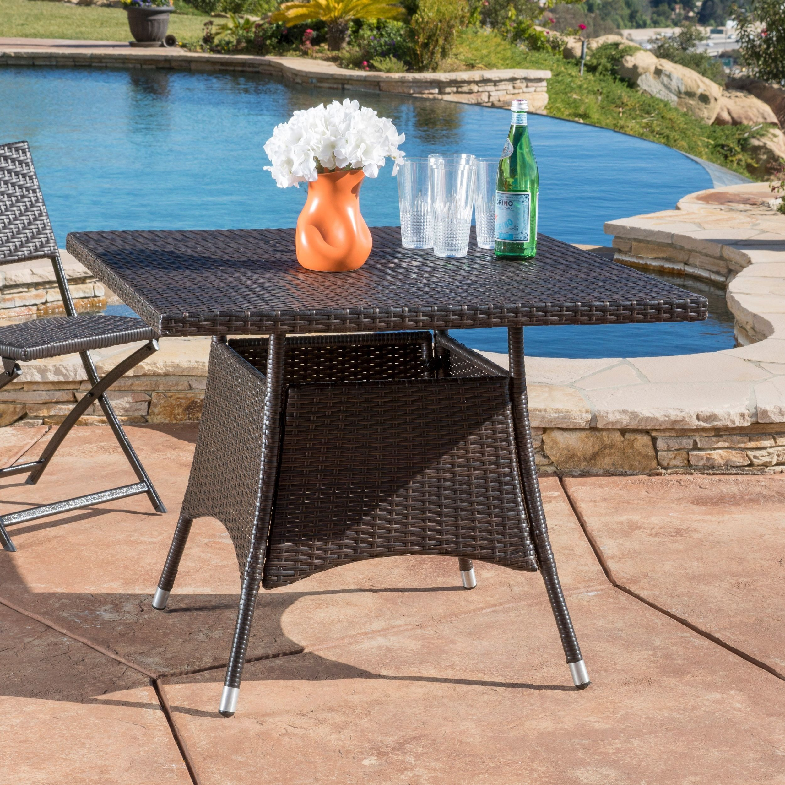 Corsica Outdoor Wicker Square Dining Table Only By Christopher
