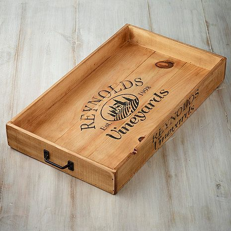 Personalized Wine Crate Serving Tray At Wine Enthusiast