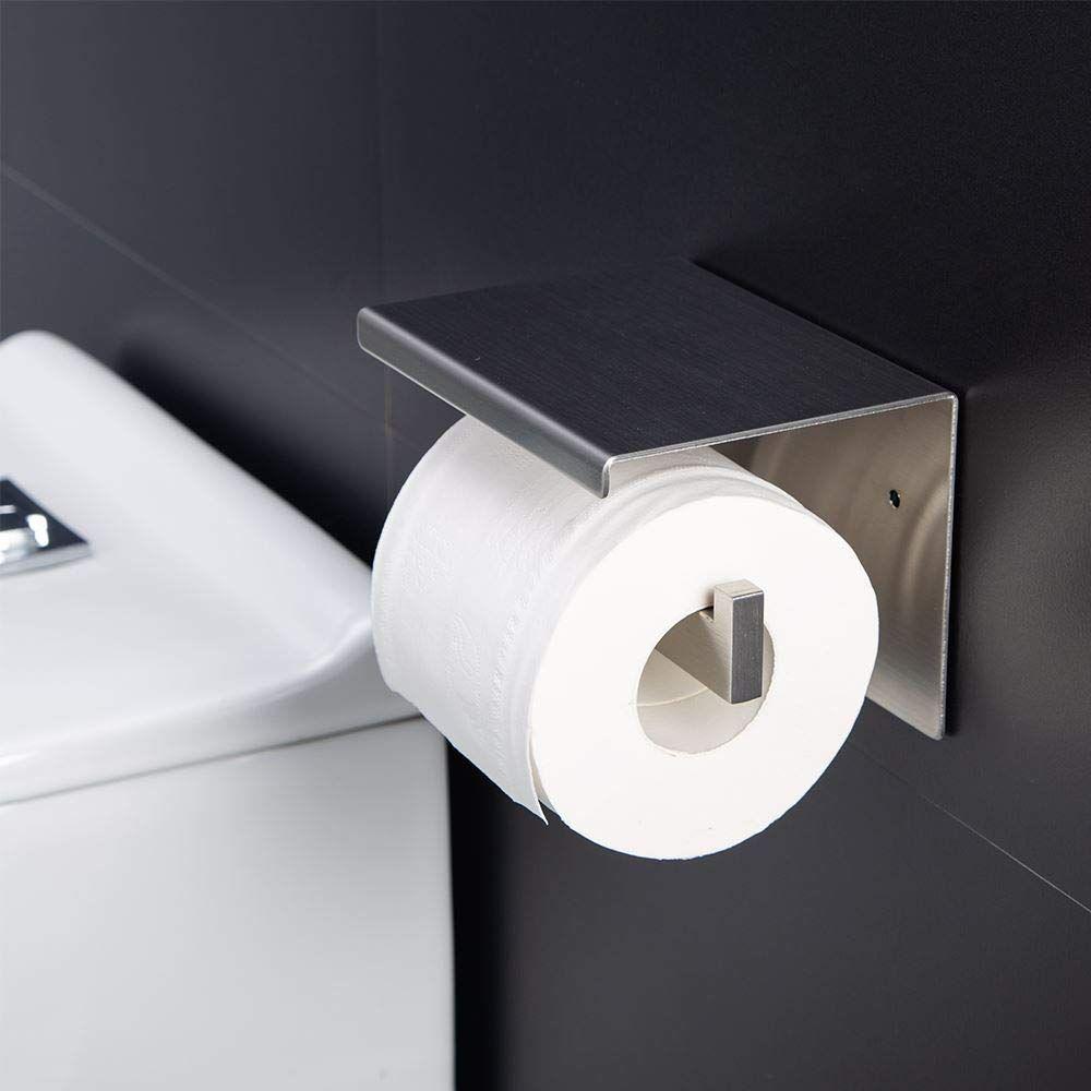 Aikzik/® Ohne Bohren Papierhalter Selbstklebend Edelstahl Klopapierhalter Toilette Toilettenpapier Toilettenpapierhalter f/ür K/üche und Badzimmer