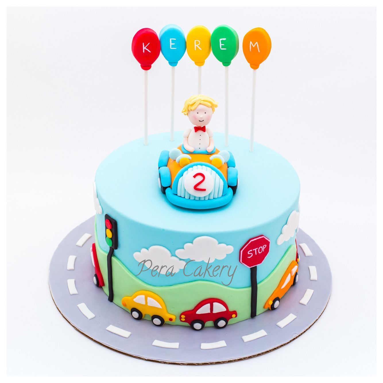 Cake Design For 2 Year Old Baby Girl : Car cake for a 2 year old boy Pera Cakery Cakes ...