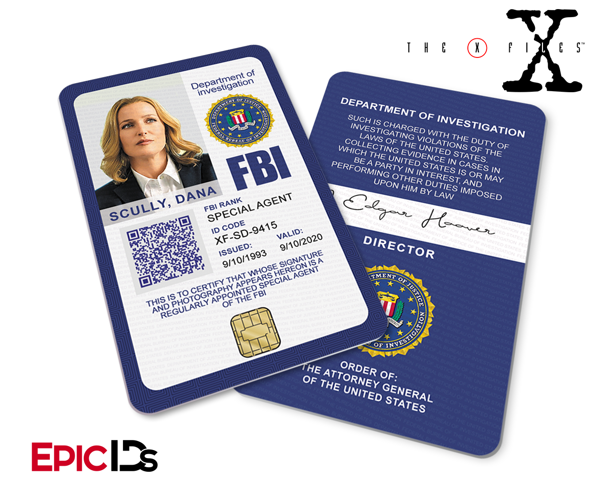 The X Files Inspired Modern Edition Style 2 Dana Scully Fbi Special Agent Id Fbi Special Agent X Files Mulder